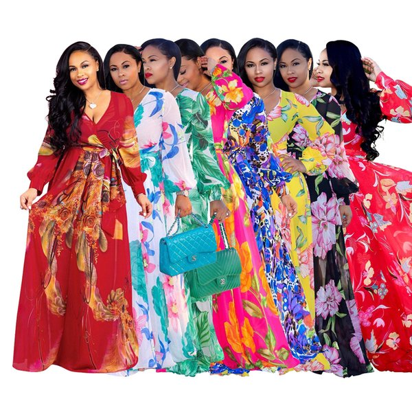 fashion casual women's dress deep V long sleeve breathable chiffon elegant classic Ten colors European and American print beach skirt