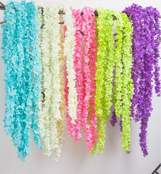 2M 79inch Upscale artificial flower hydrangea wisteria flowers rattan vines wedding arch marrige party Garlands Floral Decoration