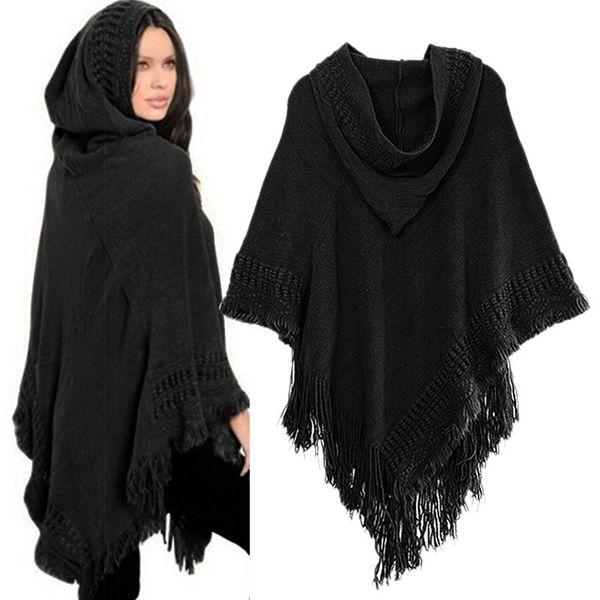 Women Cloak Hooded Sweaters Knit Batwing Top Poncho With Hood Cape Coat Tassel Sweater Outwear