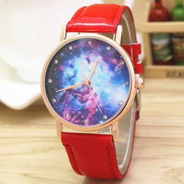 Starry Sky Outer Space Unisex Wristwatch Little Stars Luxury Casual Quartz Blue Leather Women Watch Creative Planet Lady Watches