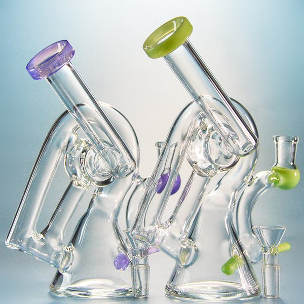 Heady Glass Oil Dab Rigs Recycler Bong Unique Design Water Bong Purple Green Water Pipes 7 Inch Beaker Hookah Bubblers With Bowl Xl260