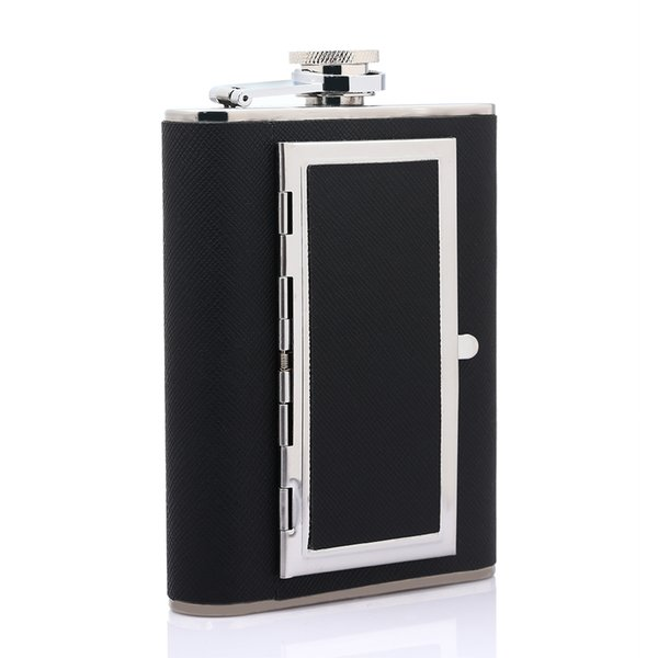 6oz Portable Stainless Steel Flagon Cigarette Case Dual-purpose Hip Flask