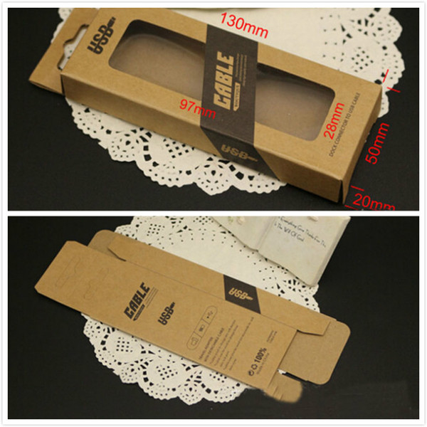 50pcs Universal Mobile Phone Cable Package Kraft Paper Pack Retail Packaging Box For 1M Micro 30 pin 8 pin USB Noodle Cables