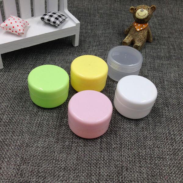 5 pçs / lote, 5 cores, 50g 50 ml Vazio Pote Pote multi-cores Maquiagem Cosméticos Creme Recipiente PP frasco de creme jar garrafa