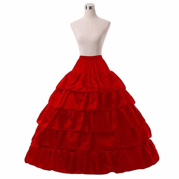 A estrenar Enaguas Vestido de bola grande 5 capas 4 aros Blanco / Negro / Rojo Boda Slip Underskirt Crinolina Para vestidos formales de boda