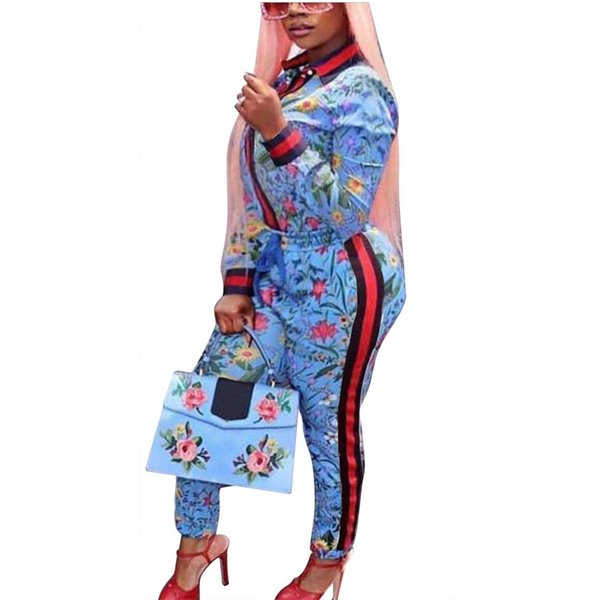 2018 Two Piece Sets Outfits Womens Floral Print Striped Jacket Top and Pants Women Sets Clothes Casual Tracksuit Plus Size XXXL D18110707