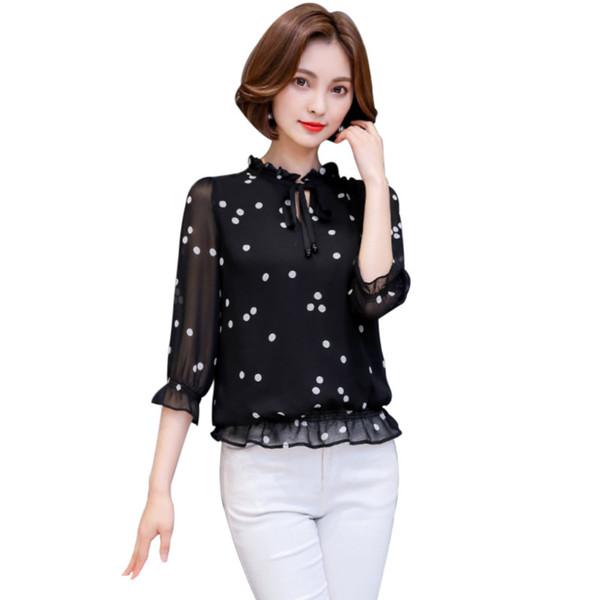 2018 İlkbahar Yaz Şifon Bluz Kadınlar Gevşek Siyah Beyaz Polka Dot Ruffles Dantel-Up Gömlek Bayan Tops ve Bluzlar S-3XL MY649