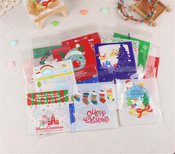 100 шт/комплект милый мультфильм подарки сумки Рождество печенье упаковка самоклеящиеся пластиковые пакеты для печенья конфеты торт день рождения пакет