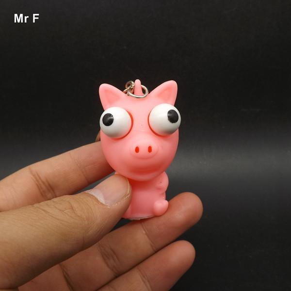 Enfants Cadeau Porc Animal Vent Vinyle Jouet Nouveauté Produits Amusement Extrusion Yeux Surélevés Keychain Pour Enfant