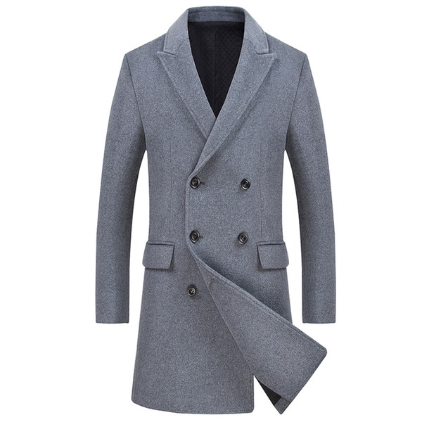 Mens Winter Brand Clothing Stylish Long Wool Trench Coat Men Silm fit Thicker Wool Overcoat Fashion Solid Peacoat For Men