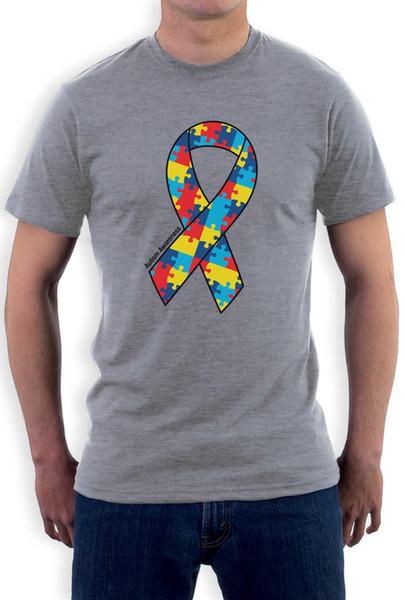 Büyük Otizm Farkındalık Renkli Bulmaca Şerit T Shirt Destek Erkekler T Gömlek Baskı Pamuk Kısa Kollu T Gömlek