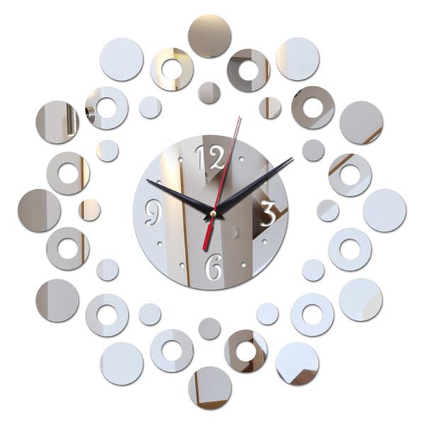 2018 New Mirror 3d Acrylic Modern Design Bathroom Clock Watch DIY Wall Clocks Home Decor Quartz Living Room Needle G