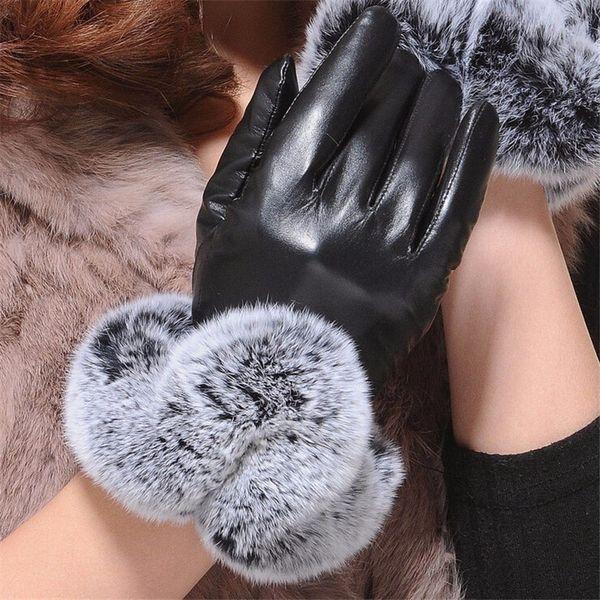 1 Pair 2017 Warm And Elegant Rabbit Fur Leather Gloves for Winter Gloves Brand Mitten Women best selling