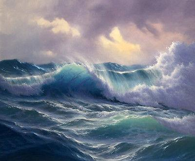 Framed seascape ocean waves in sunset ,Free Shipping,Perfect Pure Hand-painted Seascape Art oil painting on canvas Multi sizes Sc023