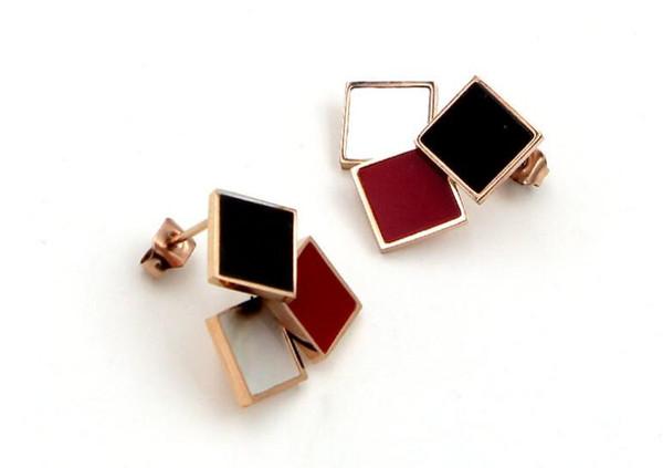 L'Europa e gli Stati Uniti color oro rosa quadrata orecchini marea femminile tre colori nero e bianco rosso orecchini in acciaio di titanio selvatici