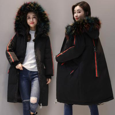Chaqueta de invierno para mujer 2018 Nuevo estilo europeo Moda Suelta Medio Largo Otoño Invierno Tallas grandes Abajo algodón Parkas Lady Coat