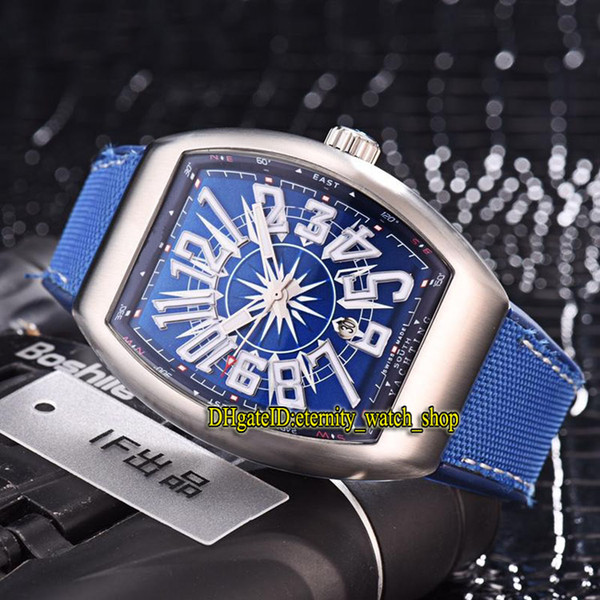 Luxry New MEN'S COLLECTION VANGUARD V 45 SC DT YACHTING Automatic Mechanical Mens Watch Blue Date Dial Leather Strap Gents Watches 02