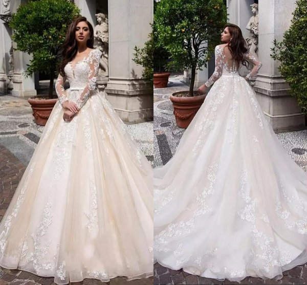 Elegant 2019 Appliques Tulle Long Sleeves A Line Boho Wedding Dresses Sheer V Neck Button Back Arabic Bridal Gowns With Bow Sash Custom Made