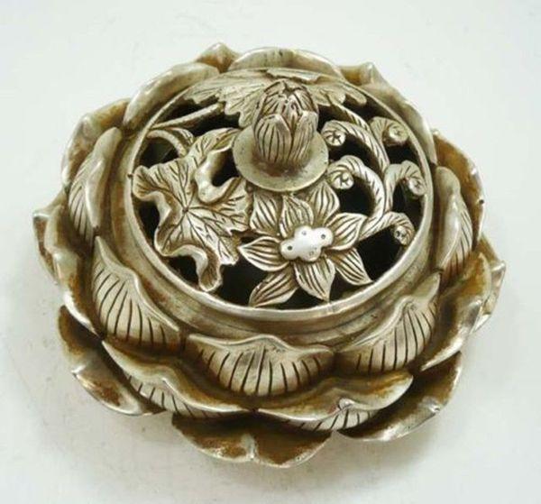 Wholesale Collectibles collectable Tibetan silver lotus flower figure censer beautiful incense burner