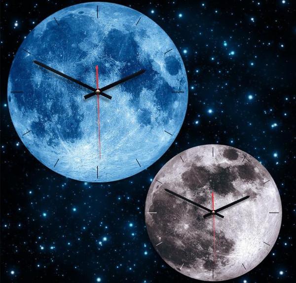 문 벽 시계 행성 원형 벽걸이 시계 벽 장식 아크릴 나무 시계 홈 인테리어 홈 장식에 대 한