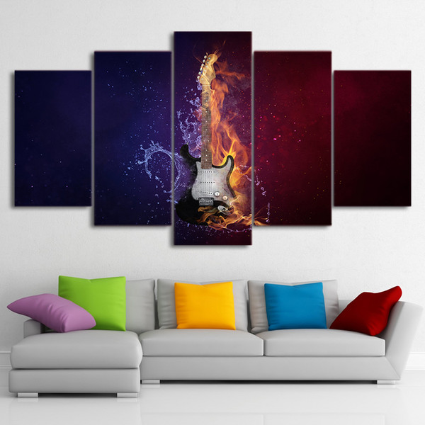 HD Printed 5 Piece Canvas Art Guitar In Fire Large Canvas Wall Art Wall Pictures for Living Room Free Shipping
