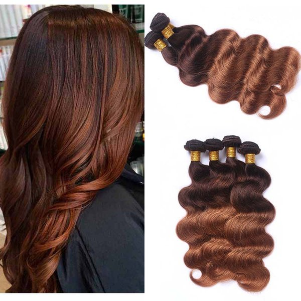Peruvian 4/30 Brown Human Hair 3 Bundles Colored Two Tone Ombre Virgin Hair Weave Cheap Peruvian Body Wave Human Hair Extensions