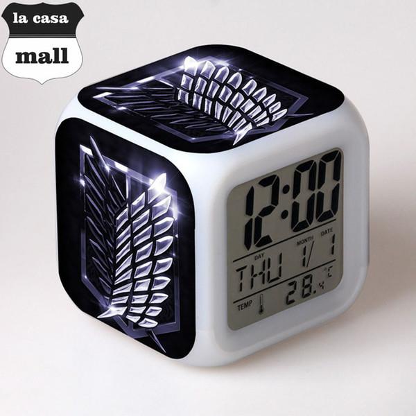 Ataque em Titan brilhante led mudança de cor digital Despertador Para o quarto das crianças multi-funcional relógio de mesa Crianças Brinquedo de Natal