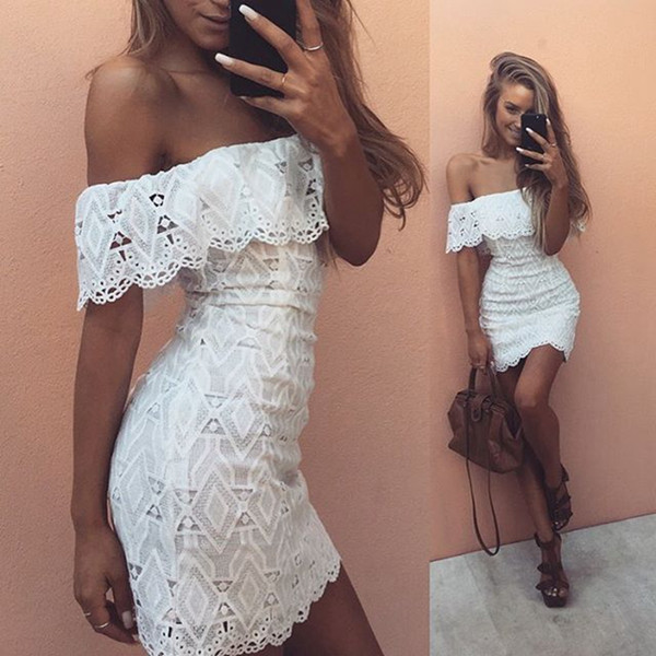 Fashion elegant off shoulder girl white lace dress Women sexy crochet hollow out evening party summer sheath bodycon dress casual vestidos