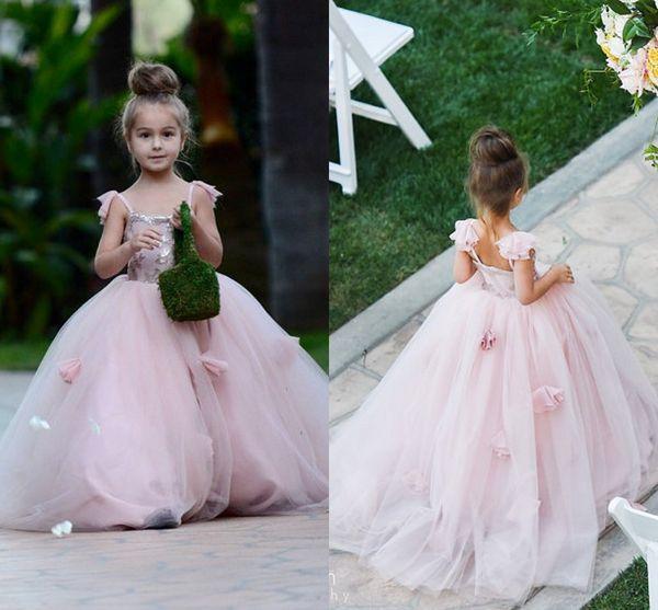 2018 Romantic Flower Girl Dress For Wedding Spaghetti Straps Baby Girl Birthday Party Christmas First Communion Dresses Kids Prom Dress