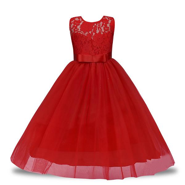 Yaphyee Çiçek Kız Çocuk Prenses Uzun Pageant Örgün Düğün Nedime Parti Maxi Elbise