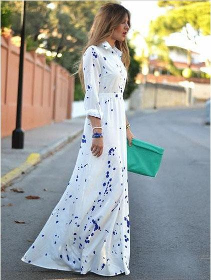 Womens clothing ladies print vintage shirt maxi long casual Dress Formal Prom Cocktail Ball Evening Party dress plus big size Dress 51061