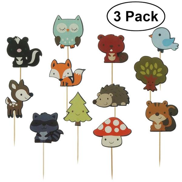 3 pack 12 Unids Lindo Woodland Animales Selecciones Decorativas de La Magdalena Postre Decoración de La Torta Topper para la Fiesta de Cumpleaños de La Boda