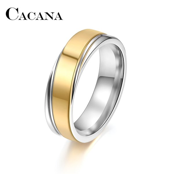 CACANA Titanium Stainless Steel Rings For Women Gold Silver Groove Engagement Fashion Jewelry Rings For Male Party Wedding