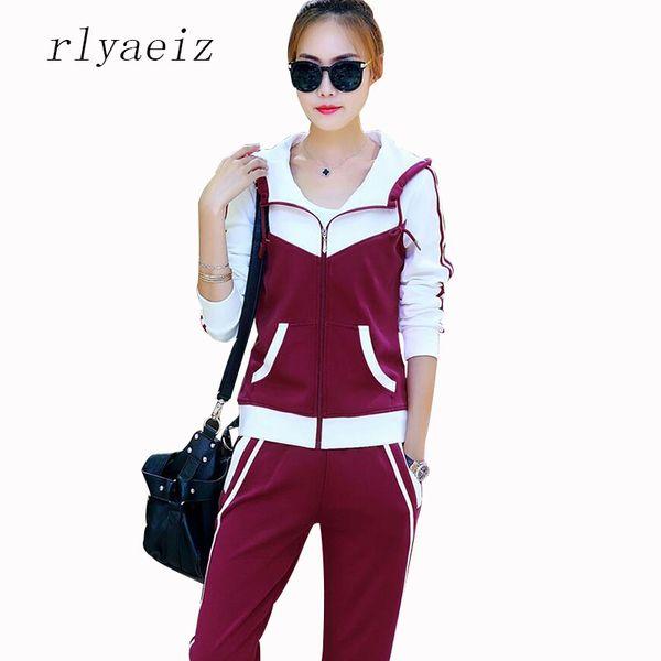 RLYAEIZ Hot New Casual 2 Piece Set Women Sporting Suit 2017 Spring Autumn Patchwork Hooded Hoodies + Pants Female Tracksuit XXXL