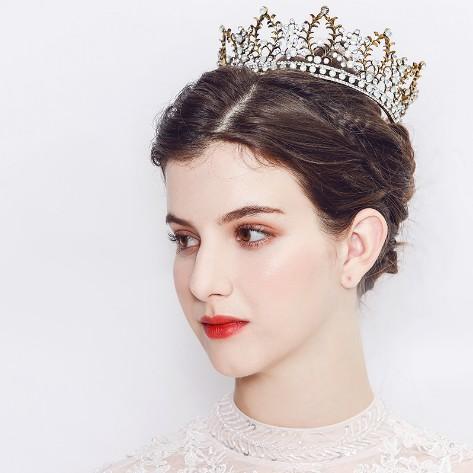 Baroque Tiara Crown Wedding Head Piece Designer Women Vintage Headband Rhinestone Crystal Crown Wedding /Party Crown Headware