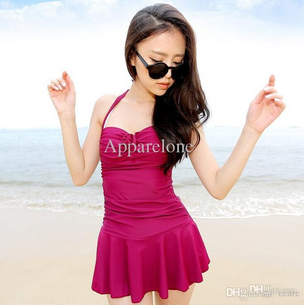 Wholesale-2015 Womens One Piece Swimsuits With Skirts Cheap Cute Bathing Suits Modest Swim Wear Juniors Plus Size Monokini Jumpsuits