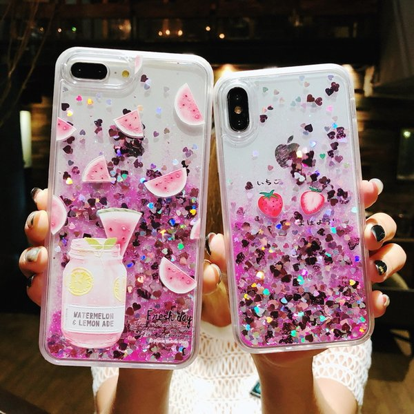 Love Heart Stars Glitter Stars Phone Case For iPhone 6 7 8 Plus X Dynamic Liquid Quicksand TPU Back Cover-F