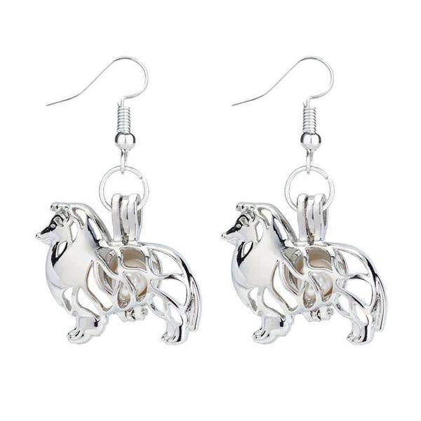 1 Paire Femmes Perle Cage médaillon éléphant animal Crochet Boucles d/'oreilles Dangle