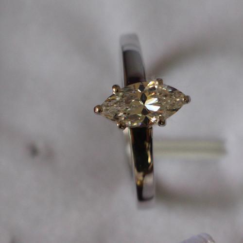 Cheval Yeux Bijoux En Argent Sterling À La Main 1CT Synthétiques Diamants Solitaire Fiançailles Marquise Bague pour Femmes Or Blanc Couleur
