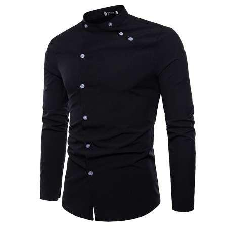 New Hot Sale Fashion cutting Double threshold Style Comfortable Casual Stand collar Men's Shirt Tops