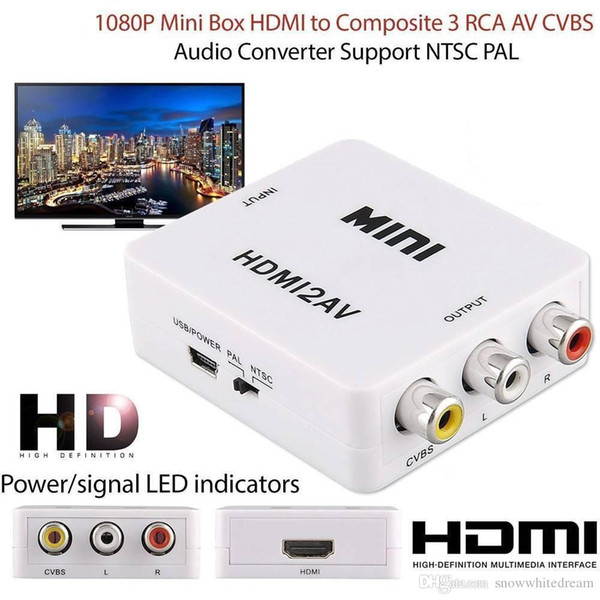 HDMI to RCA CVBS Adapter 1080P Video Converter HDMI2AV Adapter Converter Box Support NTSC PAL Output HDMI TO AV Adapter