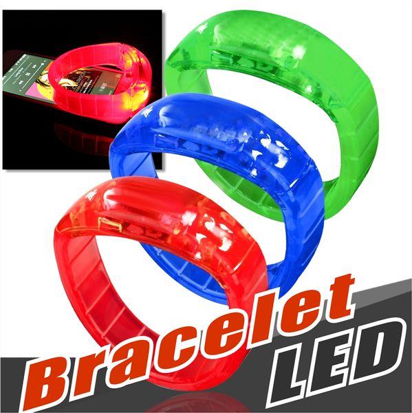 Weltmeisterschaft Musik aktiviert Sound Control Led blinkende Armband leuchten Armreif Armband Club Party Bar jubeln leuchtende Hand Ring Glow Stick
