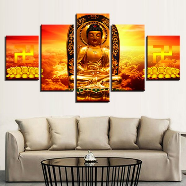 Canvas Painting Home Decor Framework 5 Pieces Gold Buddha Statue Bottom Of Lotus Seed Pictures Modular HD Prints Poster Wall Art