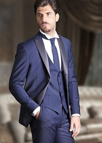 Classic Design Blue Mens Dinner Party Prom Suits Groom Tuxedos Groomsmen Wedding Blazer Suits (Jacket+Pants+Vest+Tie)