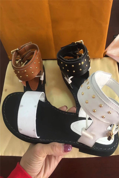 New 2018 Luxury Designer Shoes Women Sandals Geunine Leather Formal Evening Designer Slides Summer Beach Women Shoes Free Shipping Real Pic