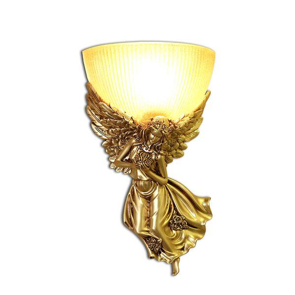 Modern LED Beauty Angel Wall Lamp Glass E27 Lighting Fixture Resin Wall Sconce For Children Bedroom Parlor Corridor lamp G736