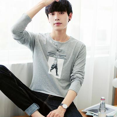 Men's White Cotton Long Sleeved T-shirt, Pure Color Round Neck Undershirt, Letter Jacket, Extra Size Code, Men's Autumn Clothes