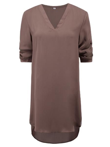 Oversize Women Tunic Shirts Sexy V Neck Female Office Chiffon Mini Irregular Dress Casual Long Sleeve Loose Tunic Shirt Dress