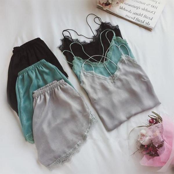 Sexy Lace trim Pajamas Women's Rayon Silk Shorts +Spaghetti Strap camis Sleepwear Home Wear Sleeveless Pajamas Sets