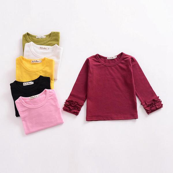 Bébé Filles Vêtements Filles Manches Longues Cardigan Chemise Manches À Volants T-shirt Enfants À Manches Longues En Coton Tees Tees 6 Couleurs YL176